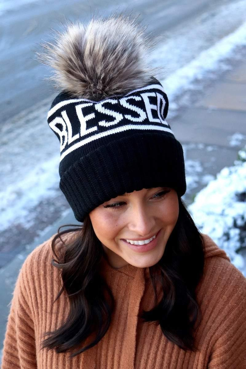 "Black and white ""Blessed"" knit hat with pom accent"