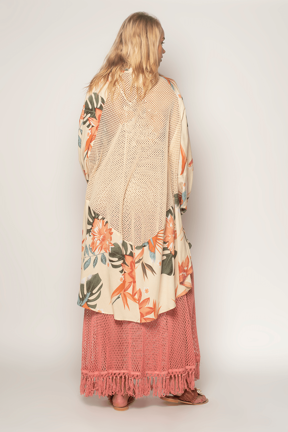 Z & L Boho kimono with unique print, crochet back. One Size