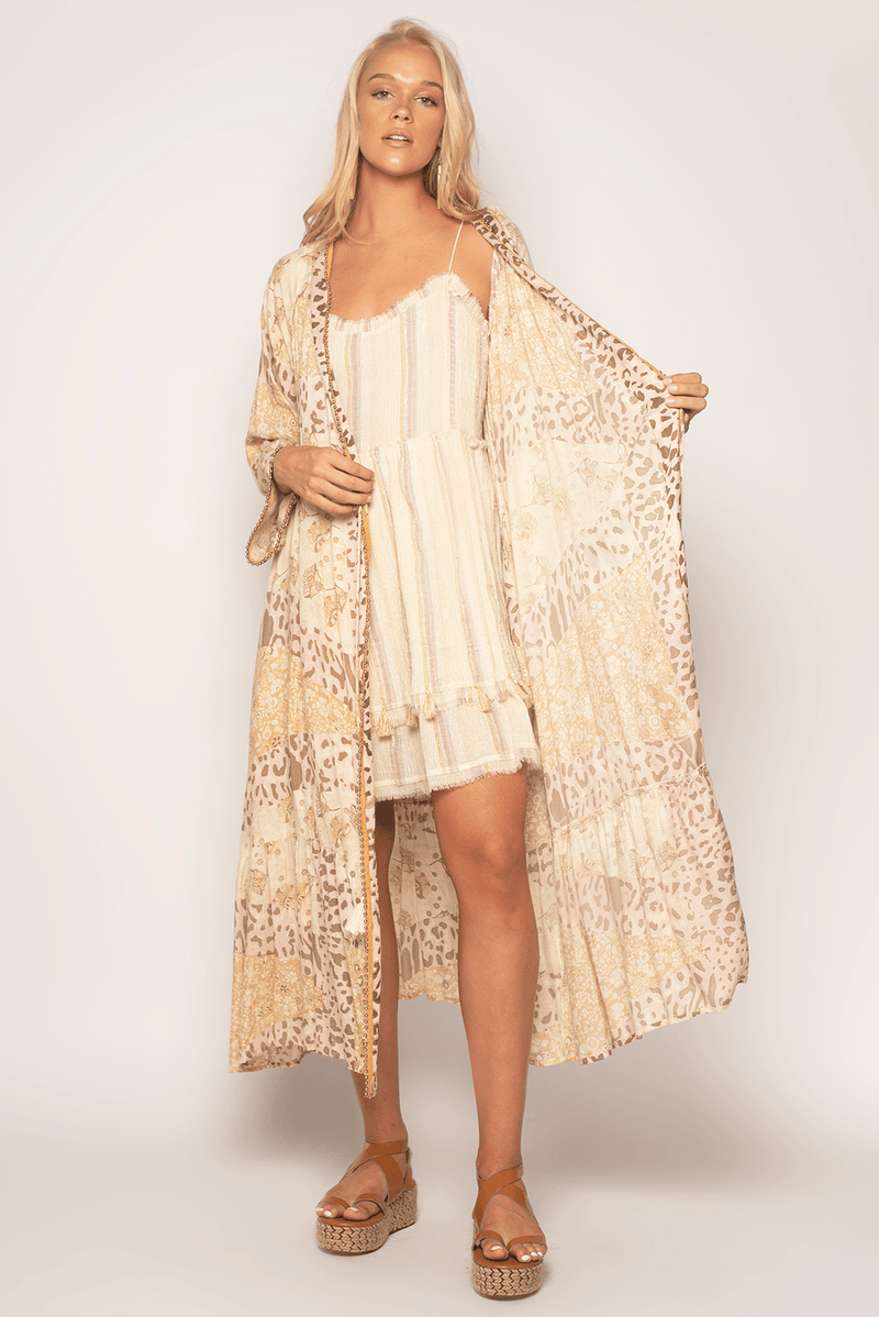 Z & L Boho duster with unique print, beaded detail in the back