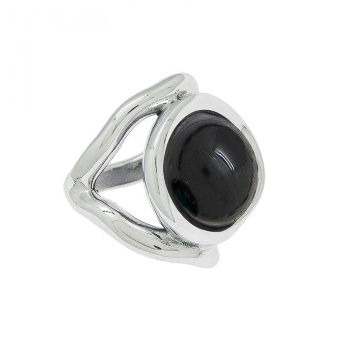 Ciclon silver ring with black murano center