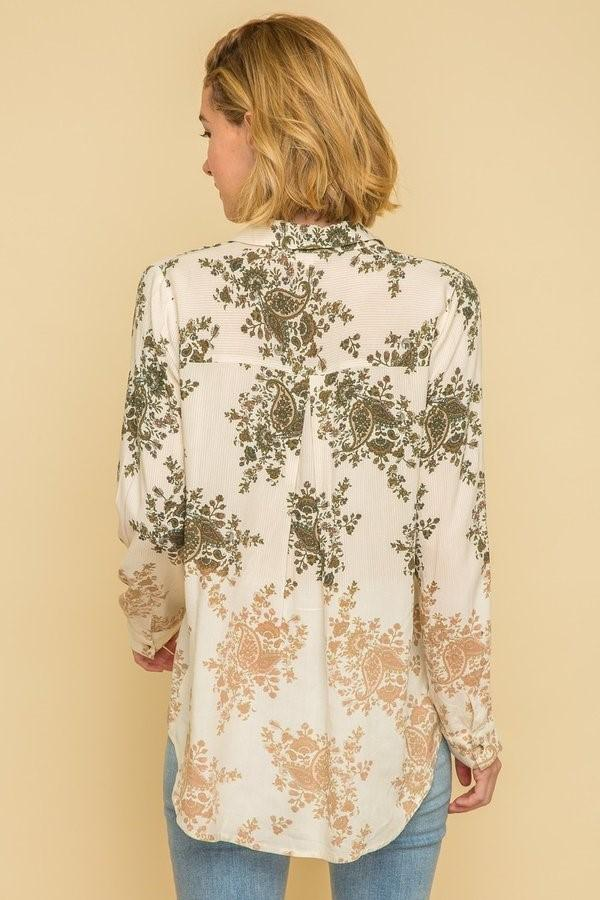 Mystree paisley floral inset on pinstripe top