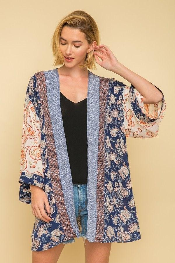 Mystree pipping detail border print 3/4 sleeves Kimono