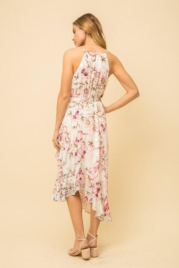 Mystree print mix ruffle bottom dress