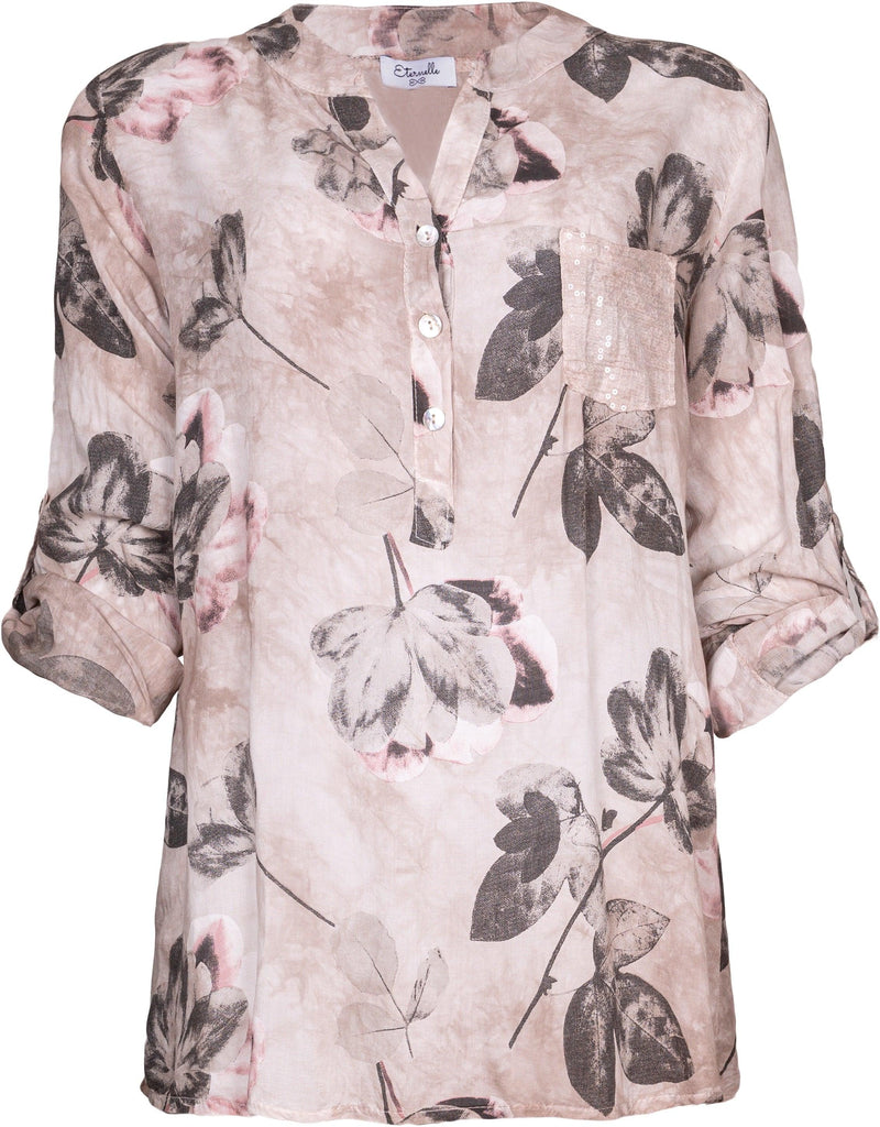 Pink Floral Print Blouse