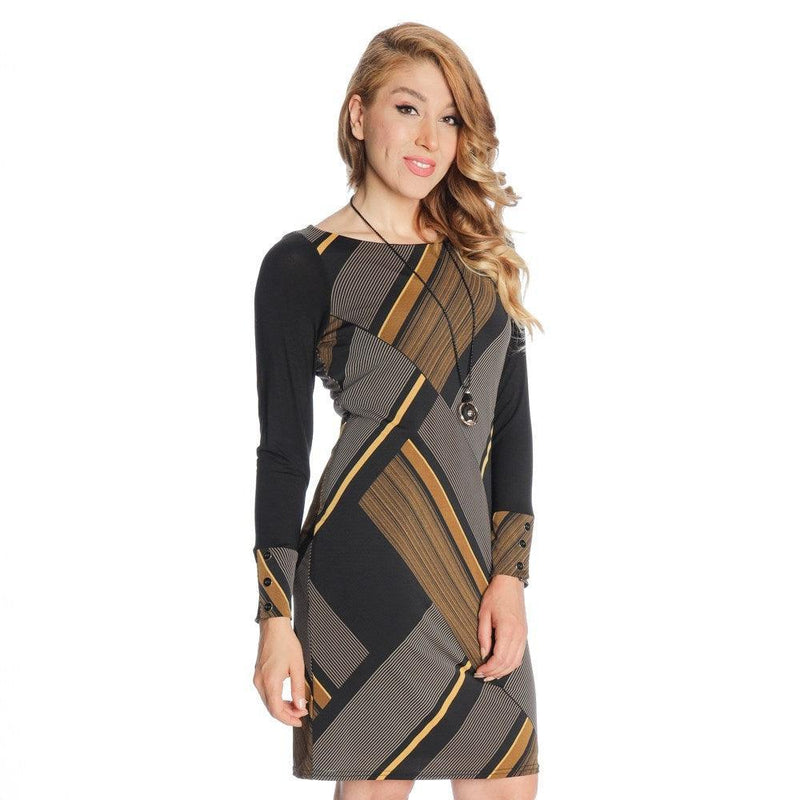 Michael Tyler long sleeve dress - black/cognac