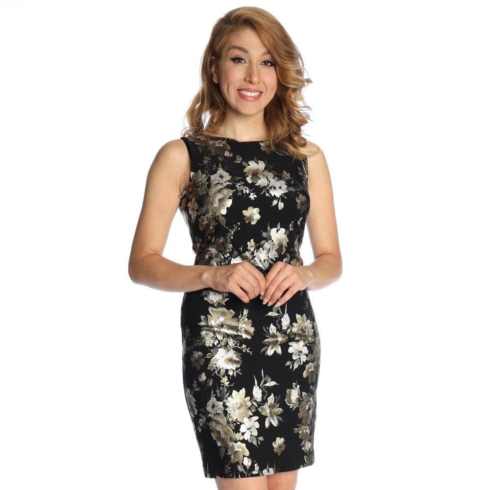 Michael Tyler black & gold floral dress