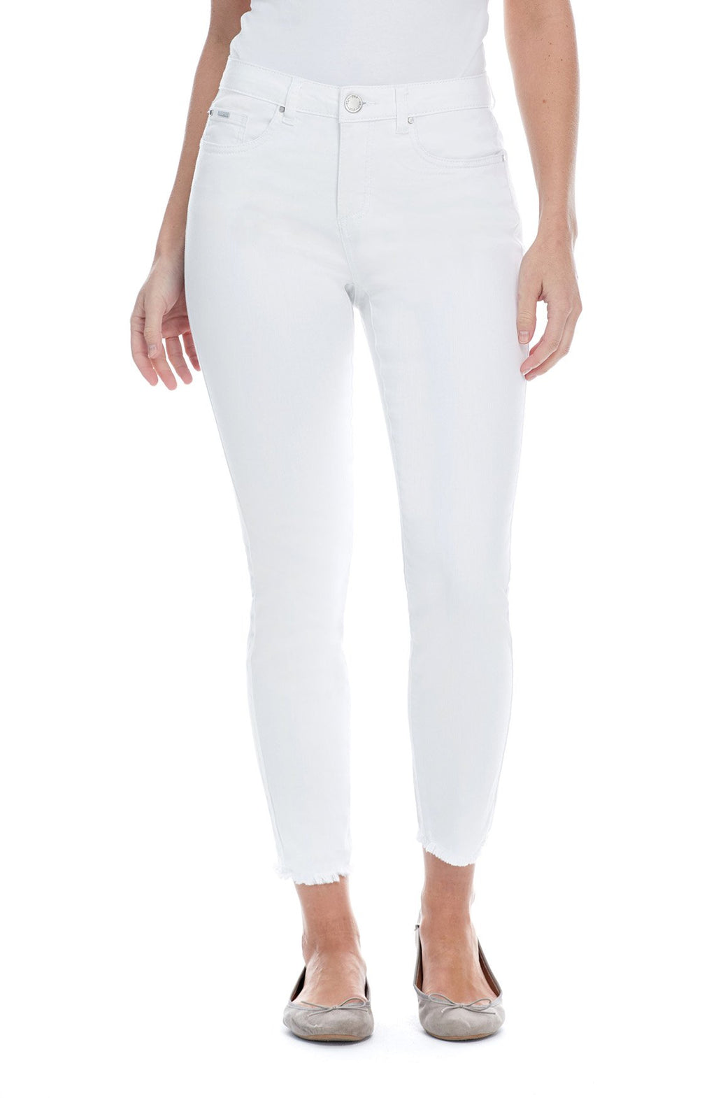FDJ white mid rise Olivia slim ankle jeans with fray hem