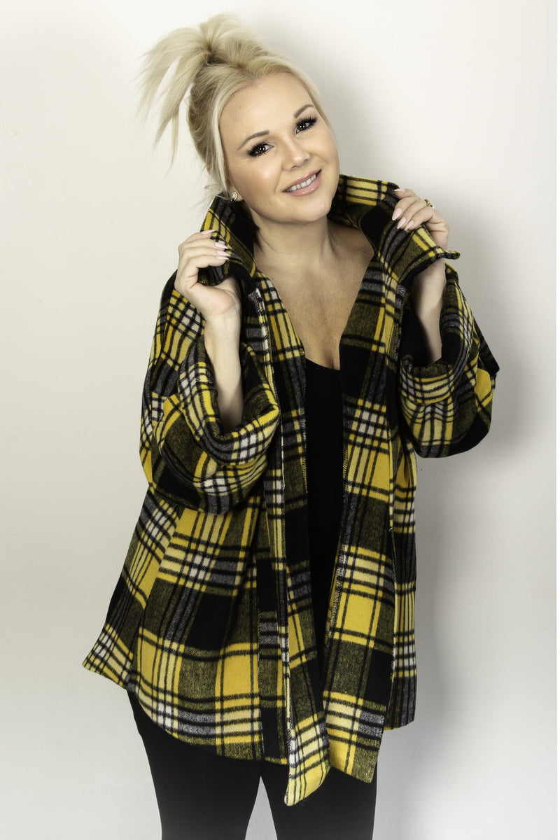 Urbanology mustard open front jacket with pockets