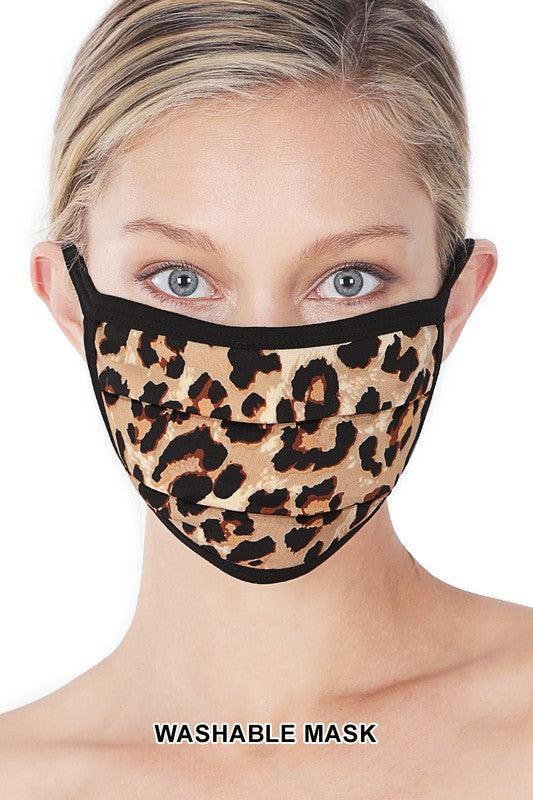 TAN BROWN LEOPARD PRINT WASHABLE MASK