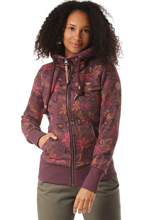 Ragwear Neska Flowers Zip - wine red