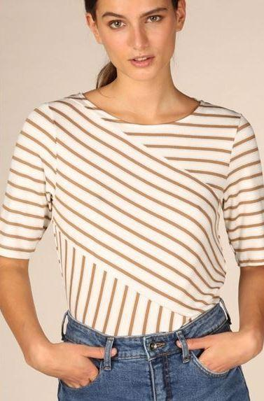 B Young off white combo striped top with silver lurex