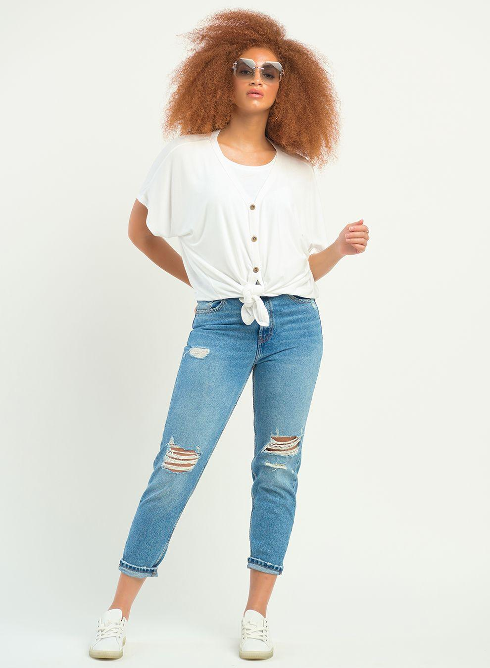 Dex Button front Top - white