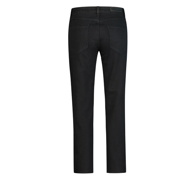 Ichi cropped black jeans with small black rhinestones