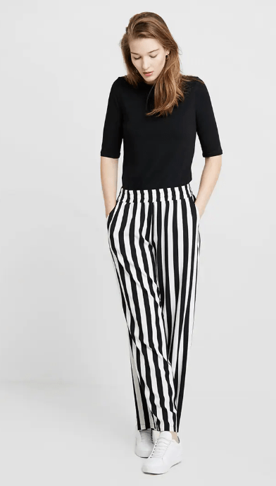 Kaffe deep black striped wide leg pant