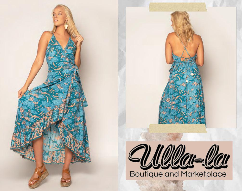 Z & L Blue/Teal Printed Wrap Dress