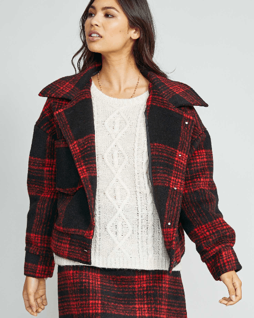 Sadie & Sage Red Black Plaid Jacket