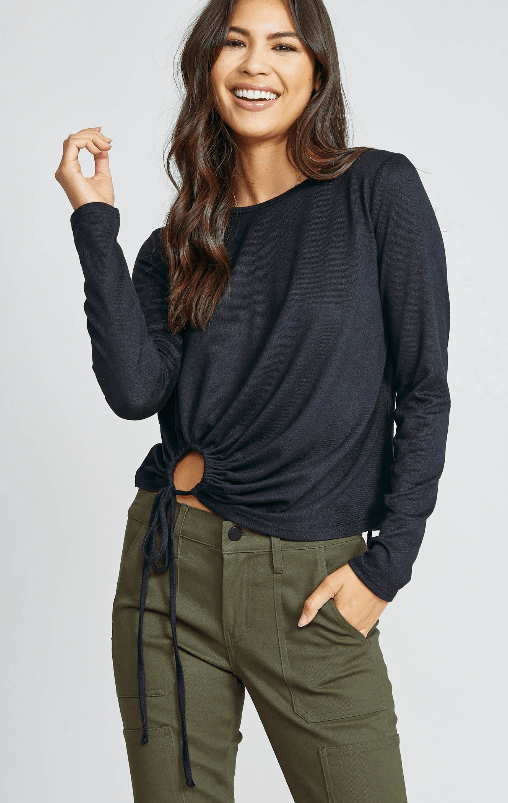 Sadie & Sage black long sleeve tie top