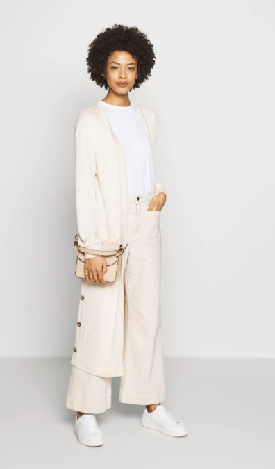 Cream eggnog long knit cardigan with pockets & button detail