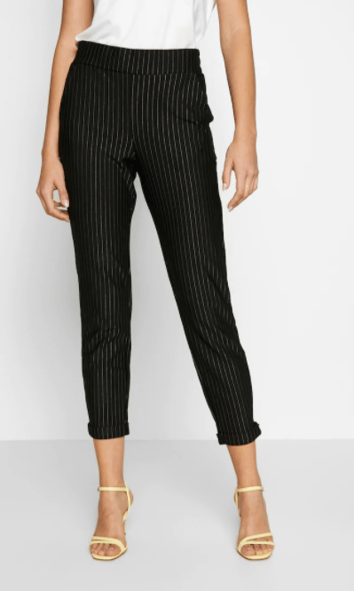 B Young black combo pants with stripes