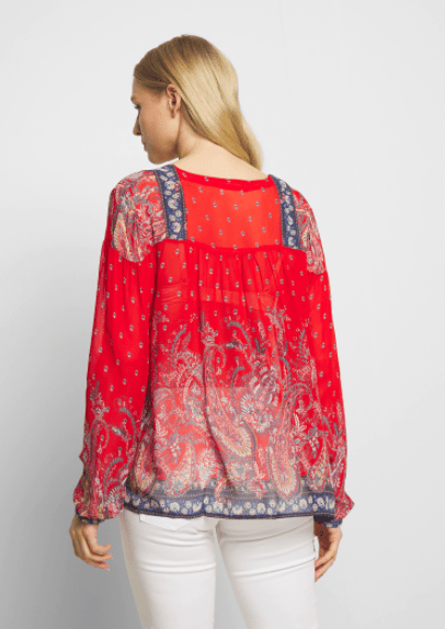 Cream boho blouse - red and navy