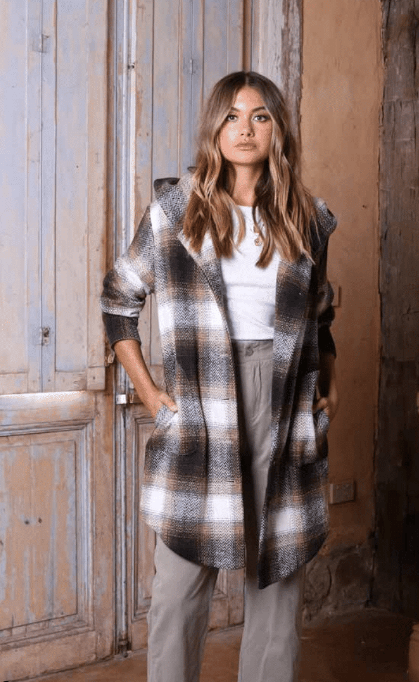 Lost in Lunar Jonas Coat - Tan Buffalo Plaid