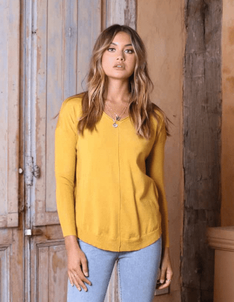 Lost in Lunar Mikayla Knit Sweater Top- Mustard