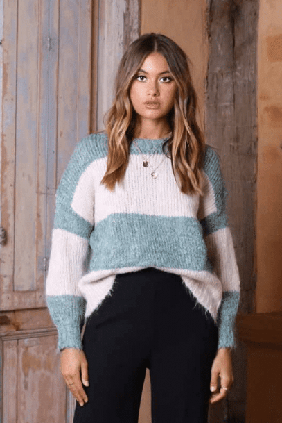 Lost in Lunar Kennedy Knit Sweater- Jade/Bone