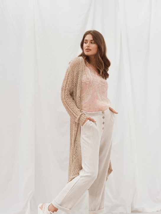 Cream chai beige knit cardigan