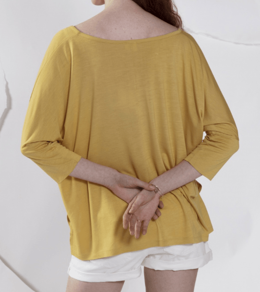 Maevy Yellow 3/4 Sleeve Round Neck Bamboo Top