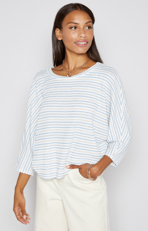 Sadie & Sage ivory/denim striped waffle bat wing top