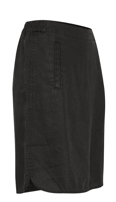 Part Two Black Linen Skirt W/ Pockets