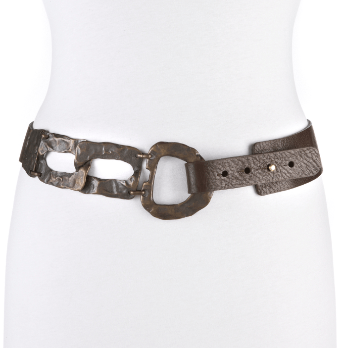Brave leather brown milled belt