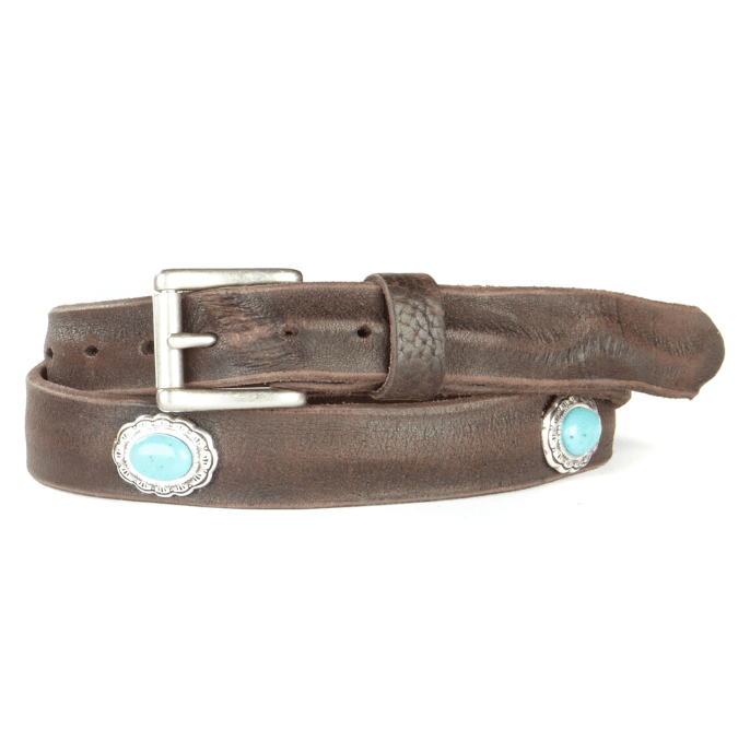 Brave leather raw washed brown belt with turquoise