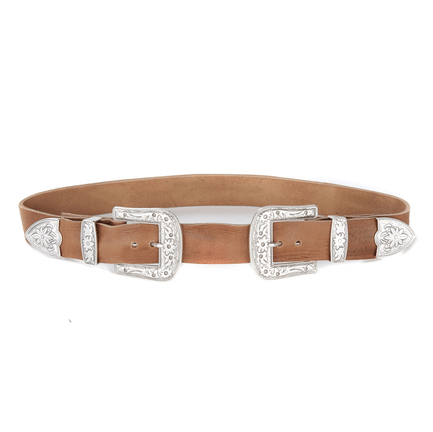 Brave leather brandy double buckle belt