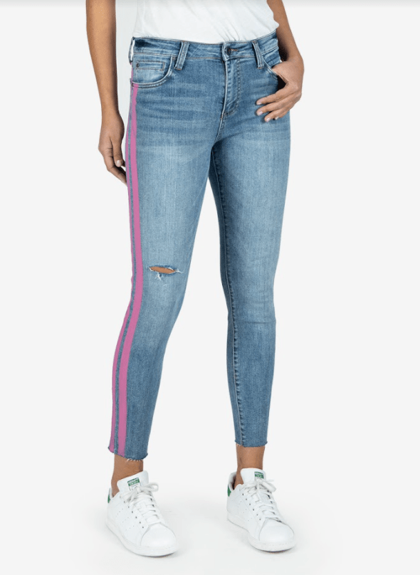 Kut from the Kloth Connie high rise ankle skinny w/raw hem jeans