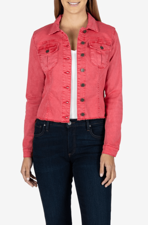 Kut from the Kloth strawberry jean jacket