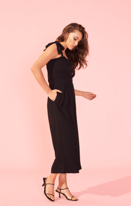 Mink Pink shirred jumpsuit in black