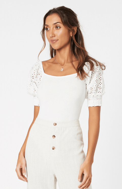 Mink Pink Think Twice Bodysuit - off white