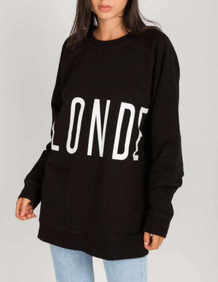 "Brunette the Label ""BLONDE"" Big Sister Crew Neck Sweatshirt 