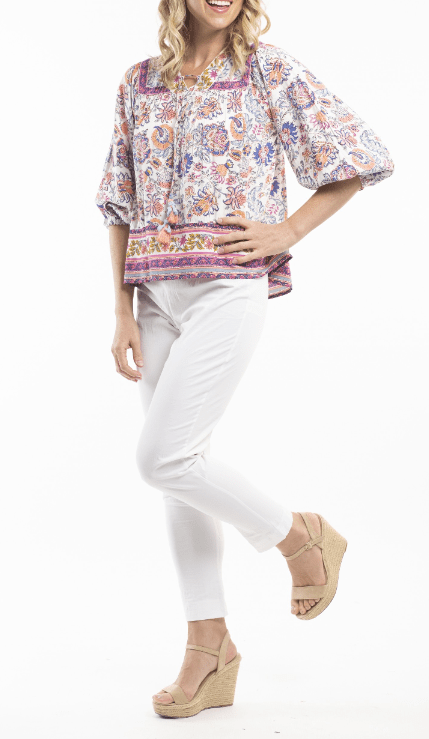 Orientique print boho blouse