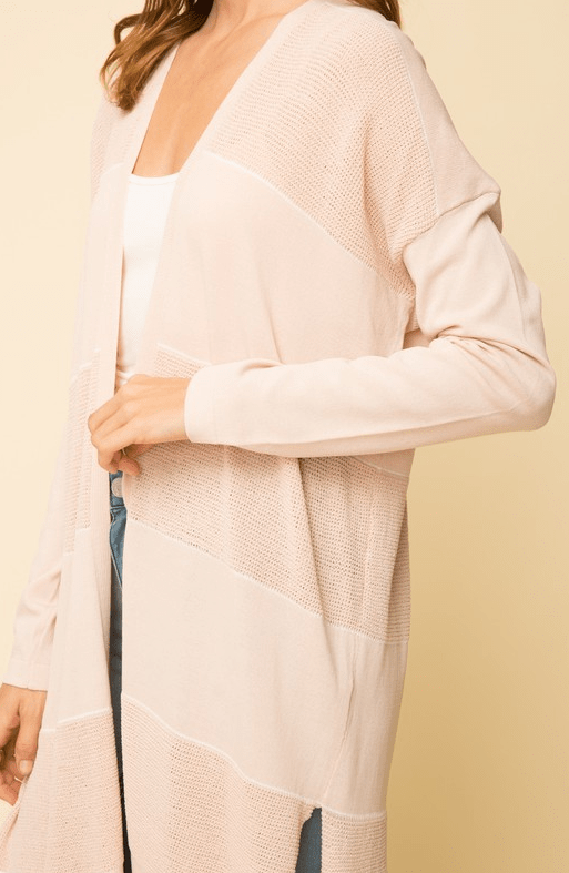 Mystree stripe detail open front cardigan - pink