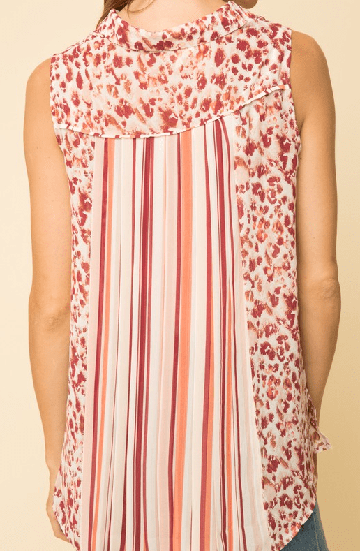 Mystree print mix chiffon sleeveless shirt with back pleat - berry mix
