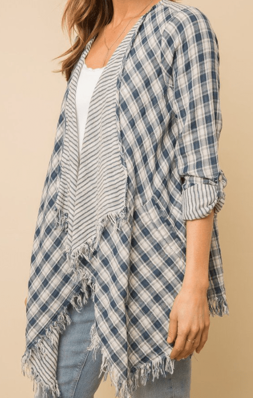 Mystree raw edge plaid kimono jacket