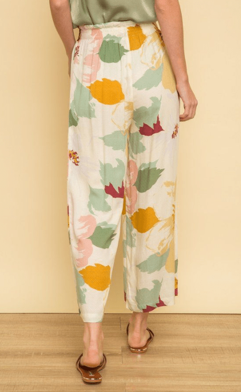 Mystree jacquard sage and mustard print pants