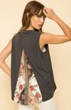 Mystree printed back inset drape modal top