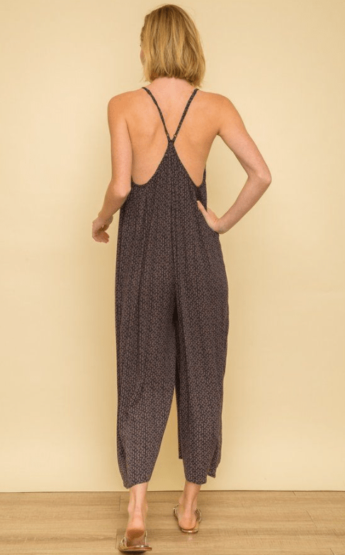 Mystree faux button print jumpsuit