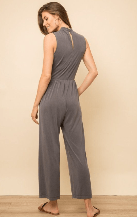 Mystree wrap front sand washed jumpsuit