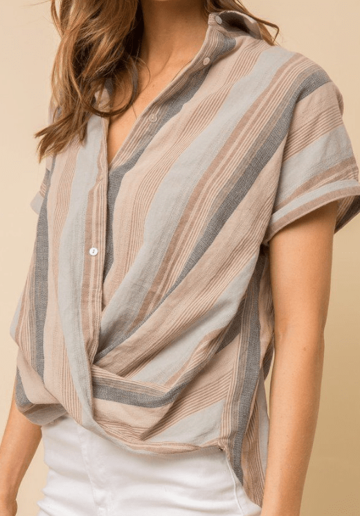 Mystree front wrap gauze top