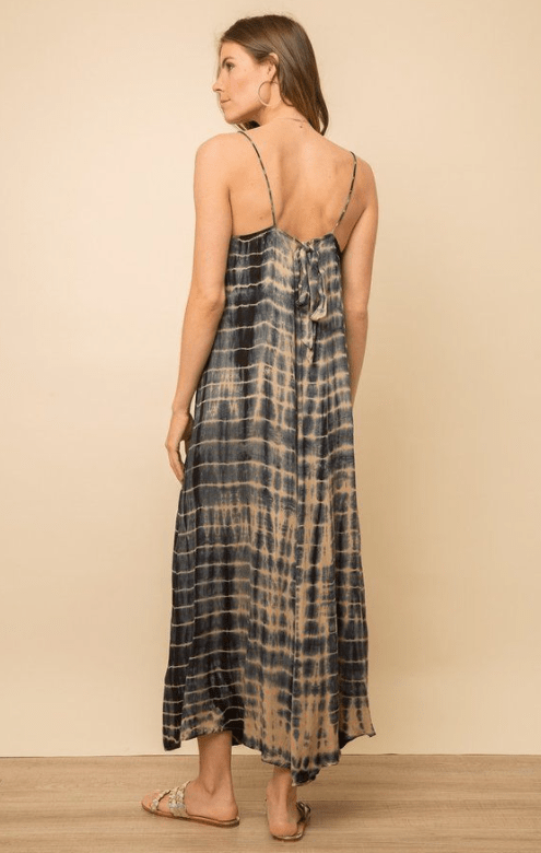 Mystree golden navy tie dye maxi dress