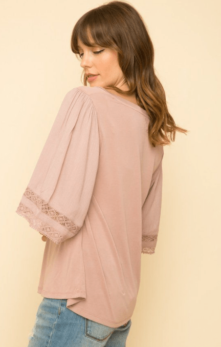 Mystree vneck trim insert top - mauve